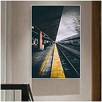 ラリウェイロード駅の写真キャンバス絵画壁アート写真リビングルームの寝室の装飾-60x90cmx1フレームなし