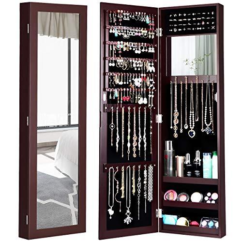 COSTWAY Armadietto per Gioielli Armadio Portagioie da Parete con Specchio e Porta con Chiusura Magnetica, Vari Colori Disponibili, 31,5 x 8,7 x 110cm (Marrone)