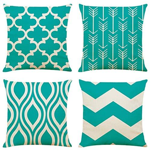 Cubiertas de cojines Conjunto de 4, Patrón geométrico cuadrado Patrón geométrico cuadradoCasas decorativas Cubiertas de almohadas para sofá Sofá cama Conjunto de automóviles Decoración para el hogar 4