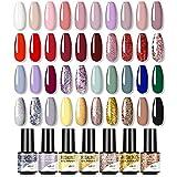 ROSALIND Esmaltes Semipermanentes para Uñas , Pastel Esmalte Pintauñas de Uñas en Gel UV Kit 40 Colores Esmaltes en Gel Manicura Soak off UV LED 5ml