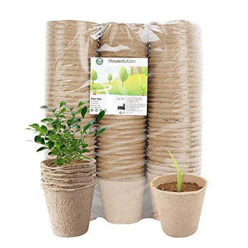 Housolution Macetas de Inicio de Semillas Recicladas, [100 PZS Macetas de Turba de 3 Pulgadas para Jardinería de Semillas, Recipiente de Germinación de Plantas Ecológicas y Biodegradables - Natural