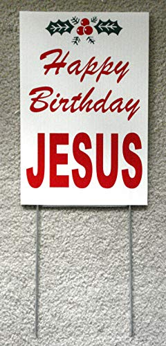 Peter Select Happy Birthday Jesus Plastic Coroplast Sign 8''x12'' w/Stake Funny Retro Vintage Business Nostalgic Signs