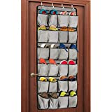 Unjumbly Over the Door Shoe Organizer, 24 Large Pocket Shoe Rack...
