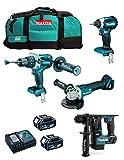 MAKITA Kit MK402 (Trapano a Percussione DHP481 + Tassellatore DHR171 + Mini-Smerigliatrice DGA504 + Avvitatore ad Impulsi DTD153 + 2 Batterie 5,0 Ah + Caricabatterie + LXT600)