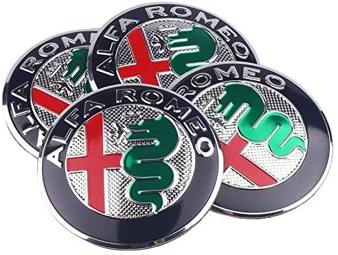 4 piezas de tapa de cubo central de rueda de coche de 56mm para Alfa Romeo Mito 147 156 159 166 Giulietta Spider GT Etc, cubiertas con pegatinas de logotipo, accesorios de coche