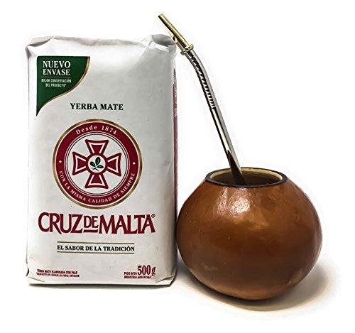 Cruz de Malta Argentina Yerba Hierba Mate Drinking Kit Set with Hand Made Gourd Cup, Bombilla Straw and 500 grams of Loose Leaf Yerba Mate Tea