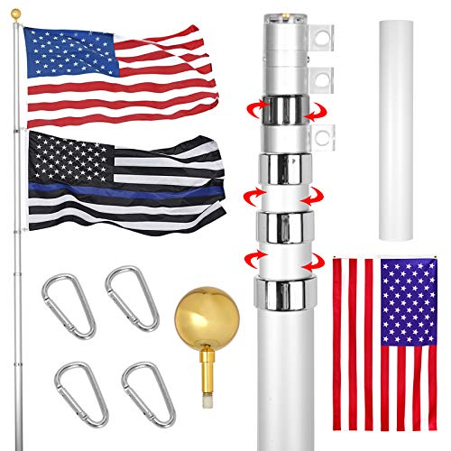 RUFLA 20FT Telescoping Flag Poles Kit Extra Thick Heavy Duty