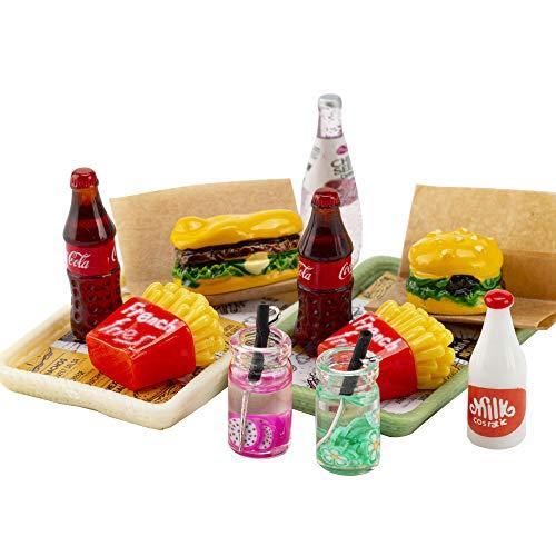 ANNI STAR Miniature Food Toy fits Barbie Doll Accessories, Hamburger Fries Cola Juice Fast Food Set, Pretend Play Food Toys for Doll, 2Pcs Set