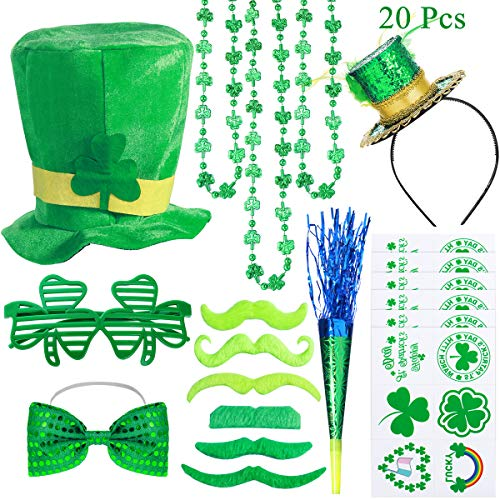 20Pcs St. Patrick's Day Party Favor Set Saint Patricks Day Irish Accessories Shamrock Green Party Supplies Toys Includes Temporary Tattoos, Mustaches, Feathered Headband, Glasses, Horn and Bow Tie, Shamrock Clover Necklace and Leprechaun Hat