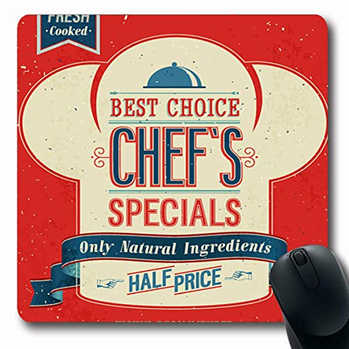 Jamron Mousepad Oblong 7.9x9.8 Inches Vintage Graphic Chefs Specials Poster Place Advertisement Food Decor Worn Drink Traditional Best Non-Slip Rubber Mouse Pad Office Computer Laptop Games Mat