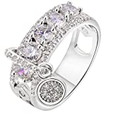 Women Bridal Fashion Crystal Rhinestone Hollow Out Ring Wedding...