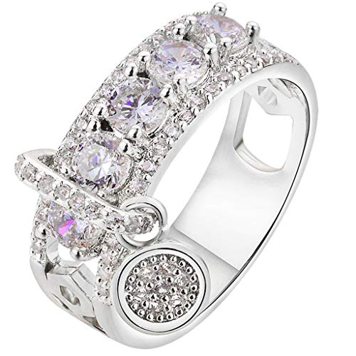 Women Bridal Fashion Crystal Rhinestone Hollow Out Ring Wedding Engagement Anniversary Bands Jewelry Gift (Silver, 8)
