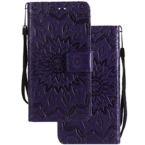 LEMORRY Handyhülle für Huawei Honor 7i / Shot X Case Leather Flip Wallet Pouch Slim Fit Bumper Protection Magnetic Strap Stand Card Slot Soft TPU Cover for Huawei Honor 7i, Blühen Purpurroter