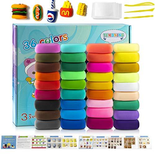 Modellierung Lehm, 36 Farben No-toxic Ultra Light Magic Clay, DIY Kreatives und Educational Kinder Spielzeug Set, Das beste Halloween Weihnachtsgeschenk (36)