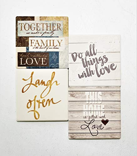 Coasters for Drinks|Absorbent Ceramic Coasters (4-PCS)| Tabletop Protection, Housewarming Hostess Home, Decor, Wedding Registry, Living Room, Cool Ideas Hot Cold Glasses Plants Cups Mugs|3.75In