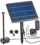 Royal Gardineer Solar Wasserpumpe: Teich- und Springbrunnen-Pumpe mit 4-Watt-Solarpanel und Akkubetrieb (Solar Springbrunnen)