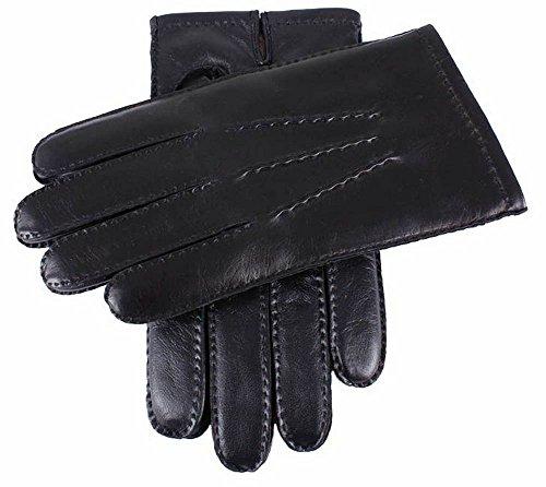Dents Cachemire noir doublé cuir gants écran tactile - Grand de