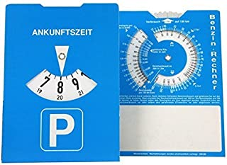 Parkeerschijf met benzinerekenmachine, karton.