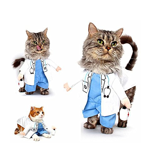 DELIFUR Dog Cat Doctor Costume Pet Doctor Clothing Halloween Jeans Outfit Apparel