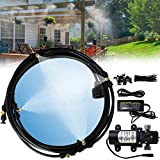EONBON misting cooling system with12V 60W pump,Fresh Water Pressure Sprayer misting nozzles Pump With 20 Feet (6m) Misting Cooling System For patio garden Lawn