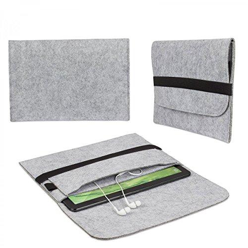 eFabrik Hülle für Trekstor SurfTab Twin 10.1 Filz Tasche Tablettasche Sleeve Hülle Soft Cover Schutzhülle Filz hell grau
