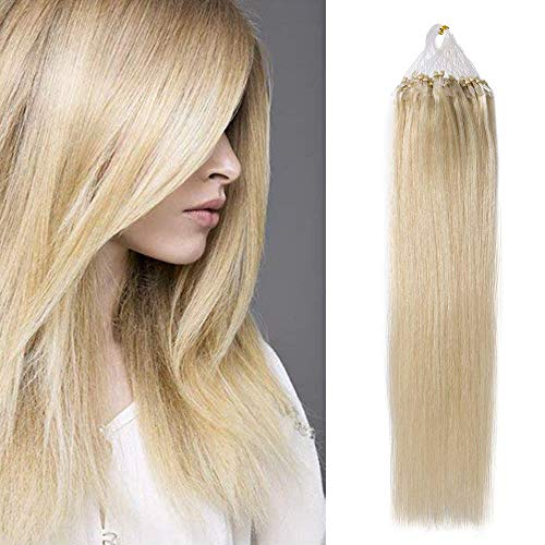 """Extension A Froid 50G, 100 Mèches X 0.5G/Mèche - 60 Blond Platine - Extension Micro Loop 22"""" Extension Anneaux Cheveux Naturel Remy Hair"""