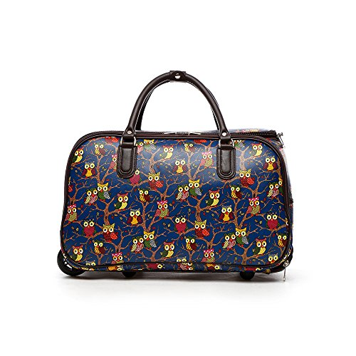LeahWard Ladies Butterfly Print Travel Bag Holdall Hand Luggage Womens Weekend Handbag Wheeled Trolley 309 (Fuax Leather Blue Owl)