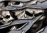 Autoaufkleber, Seitendekor: 3D Metal - Metal Skull Rip Totenkopfaufkleber S057-150 cm