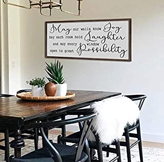 bawansign May Our Walls Know Joy Sign Home Wall Decor Living Room Sign Large Dining Room Sign Farmhouse Wall Art Framed Sign
