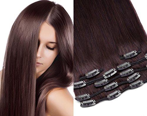 GlamXtensions Clip In Extensions Set für komplette Haarverlängerung 100% Echthaar 7 teilig 70g hochwertigeres Remy Haar 45 cm Clip-In Hair Extension Nr. 4 schokobraun braun