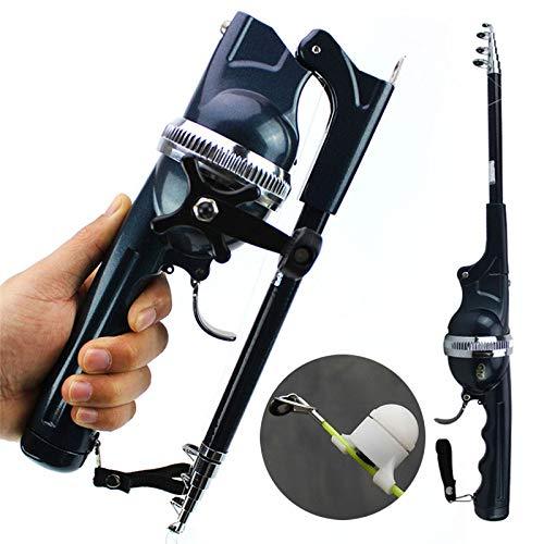 Kit de pesca telescópico para caña de pescar y carrete de pesca, juego de caña de pescar, barra de pescar retráctil con carrete de pescar y línea de pesca para el lago del río mar (accidental: indicador de alarma de pico)