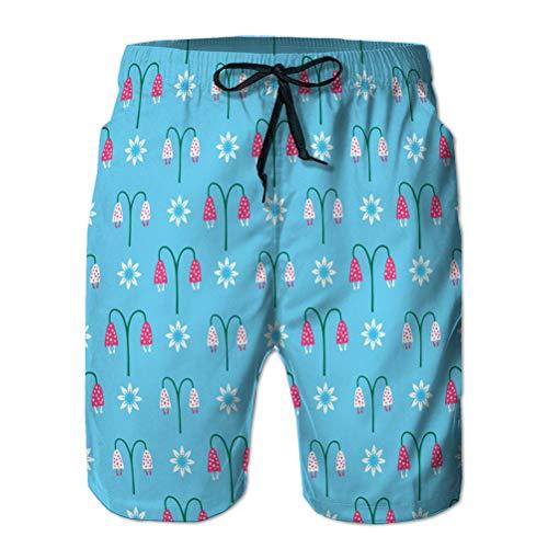 jiilwkie 3D Graphic Mens Summer Swim Funny Beach Board Shorts Bright Summer Bellflower bl M