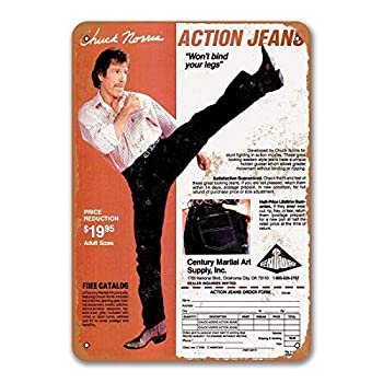 LAOBA 1980 Chuck Norris Action Jeans Signs Metal Wall Poster Tin Sign Vintage Dinner Room Cafe Shop Home Kitchen Decor 8x12 Inches