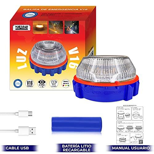 Luz de Emergencia v16 Homologada con Batería Recargable USB Incluida Baliza de Preseñalización de Peligro Recomendado por la DGT Señal de Advertencia para Vehículos en Caso de Avería Compacta