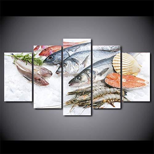 SDALD Leinwanddrucke 5 Teilig 200x100CM Leinwanddrucke 5 Stück Frischer Fisch und Garnelen mit Meeresfrüchten Malerei Wohnzimmer Hd Poster Wohnkultur Wandkunst Kein Rahmen Leinwand Malerei Wand Kunst