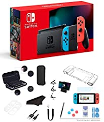 【Super Bundle with Accessories】Bundle includes Nintendo Switch console, Nintendo Switch dock, Neon Blue Joy-Con (L) and Neon Red Joy-Con (R), Two Joy-Con straps, One Joy-Con grip, High Speed HDMI cable, AC adapter and GalliumPi 12-in-1 Accessories (1...