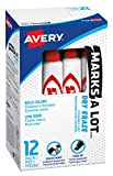 Avery Marks A Lot Dry Erase Markers, Low Odor White Board Markers with Chisel Tip, 12 Red (24407)