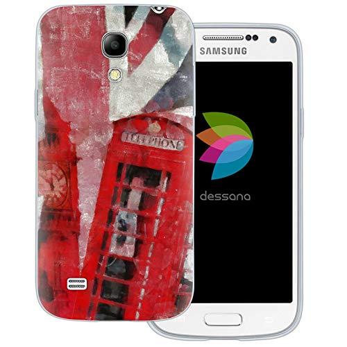 dessana London Union Jack - Cover trasparente per Samsung Galaxy S4 Mini, motivo: cabina telefonica