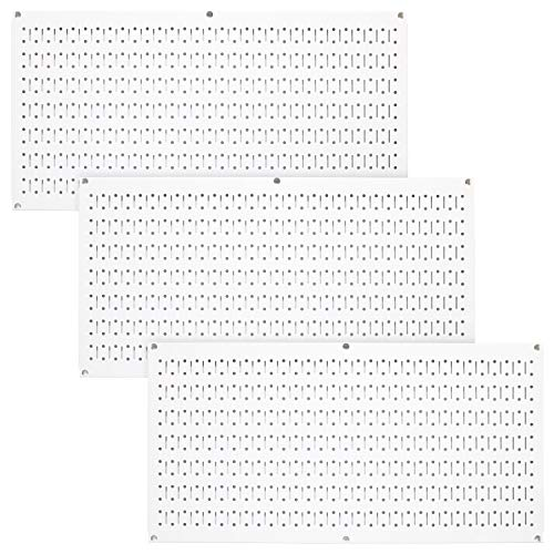 Wall Control Pegboard Value Pack - (3) Pack of Wall Control 16-Inch Tall x 32-Inch Wide Horizontal White Metal Pegboards for Wall Home & Garage Tool Storage Organization (White Pegboard)
