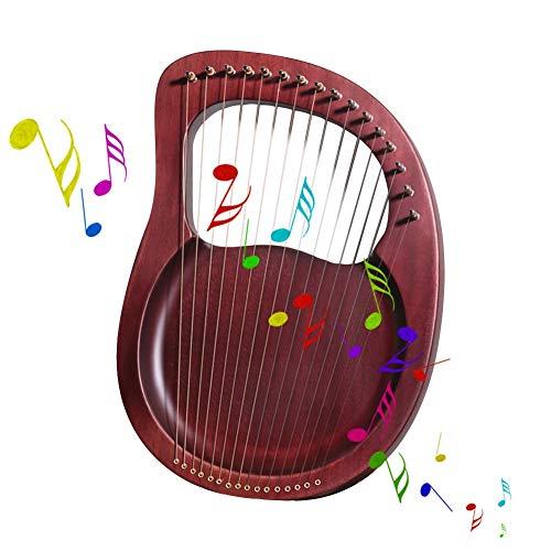 Logo Tragbar 16 Saite Harfe, Massivholz-Musikinstrumente, Mit Stimmschlüssel Professionelle Übung Musikgeschenke Party, Unterhaltung, Reisezubehör (Color : Reddish Brown, Size : 27x38cm)