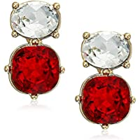 Anne Klein Red Gold Tone Princess Oval Button Siam Crystal EZ Comfort Clip Earrings