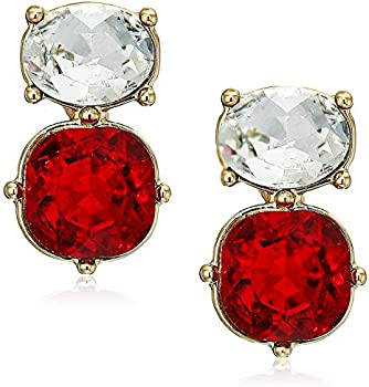 Anne Klein Red Gold Tone Princess Oval Button Earrings