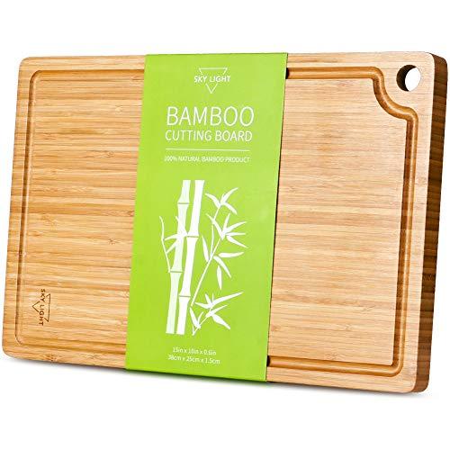 SKY LIGHT Planche à découper en Bambou Biologique (38 * 25 * 1.5cm), avec Trou d'Accrochage et Jus Groove, sans BPA - Medium