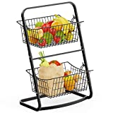Wire Market Basket Stand, Warmfill 2 Tier Vertical Fruit Basket with Removable Wire Basket for Fruit, Vegetables, Toiletries, Household Items, Metal Hanging Produce Basket for Kitchen, Bathroom, Laundry, Black