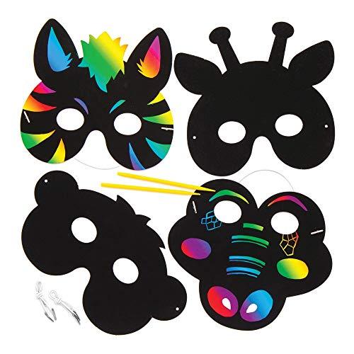 """Baker Ross Kratzbild-Masken """"Dschungeltiere"""" (6 Stück) – Regenbogenpapier mit Kratzwerkzeug für Kinder zum Basteln und Dekorieren"""
