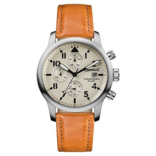 Reloj Automático Ingersoll para Hombre con Blanco Roto Analogico Y Marrón Cuero I01501
