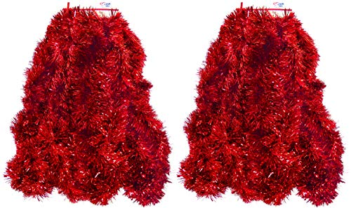 2 Pack Red Super Duper Thick Tinsel Garland 50 Ft Total (Two Strands Each 25 ft Long) (Red, 50 Ft. (Two 25 ft Tinsels) 2 Pack