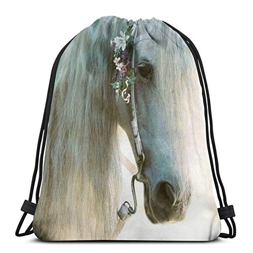 fenrris65 Mochila con cordón de Terylene para hombre y mujer, diseño de caballo blanco con flores rosas