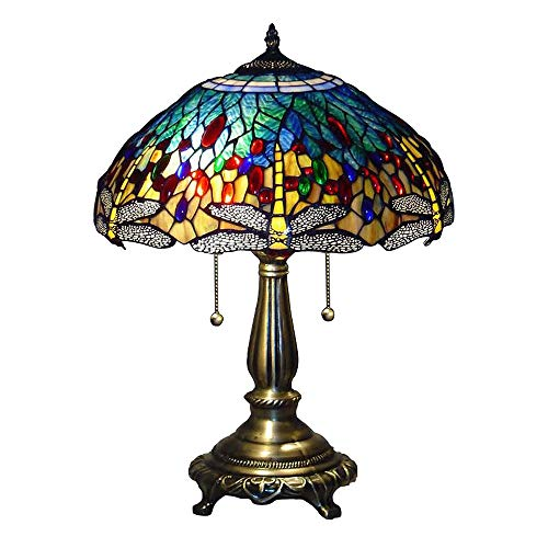 Serena D'Italia Elegant Tiffany Style Yellow Glass Dragonfly Table Lamp, Handcrafted in The Antique Style of Louis Comfort Tiffany