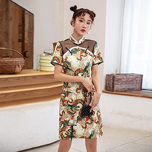 CIDCIJN Vestido Chino - Mujeres Tradicional Oriental Estampado Qipao, Estilo Chino Retro Cheongsam Moda Dama Elegante Vestido Vintage Party Outfits,Amarillo,XL